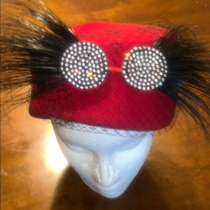 WOMEN'S HAT RED WITH FAUX FEATHERS